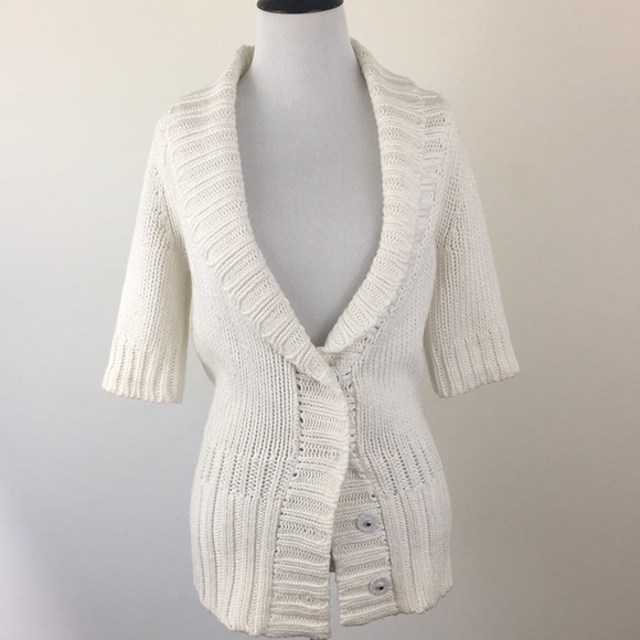 192f4ab56af Theory Sweaters | White Chunky Knit Short Sleeve Cardigan S | Poshmark